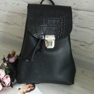 Рюкзак из натуральной кожи Флотар + рептилия. Цвет черный.