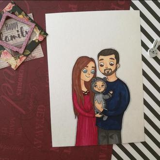 Нежная открытка - семейный портрет <3