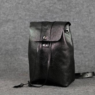 Женский рюкзак на затяжках с кнопкой  11942  Черный