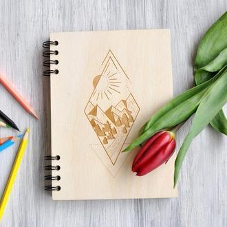 """Записная книга в деревянной обложке """"My way"""""""