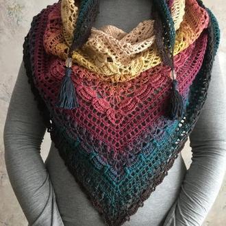 Стильная шаль шарф бактус lost in time из нежного голландского полухлопка, ручная работа