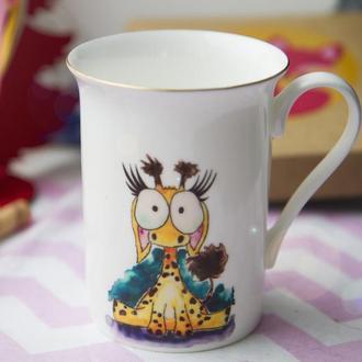 """Фарфорова чашка з авторською ілюстрацією """"Жирафка"""""""