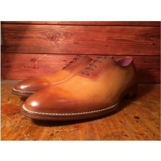Цельнокройные туфли с ручной покраской на кожаной подошве