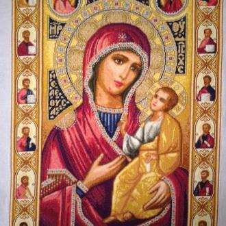 Икона вышитая крестиком Иверская Богородица