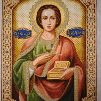 Икона вышитая крестиком Святой Великомученик и Целитель Пантелеймон