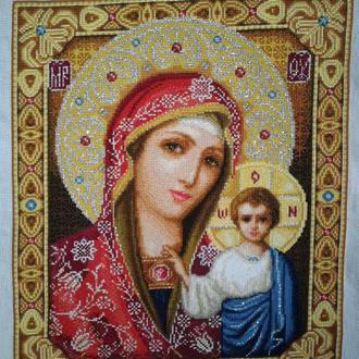 Икона вышитая крестиком Казанская Пресвятая Богородица