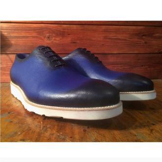 Синие тонированые мужские цельнокройные туфли на подошве Vibram