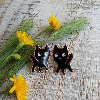 """Серьги гвоздики """"Кто сказал """"мяу"""" ( черный кот, рыжий кот, котята, котёнок, подарок, уютные котики)"""