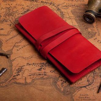 Кожаный женский красный клатч