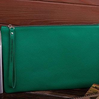 Широкий кожаный зелёный клатч