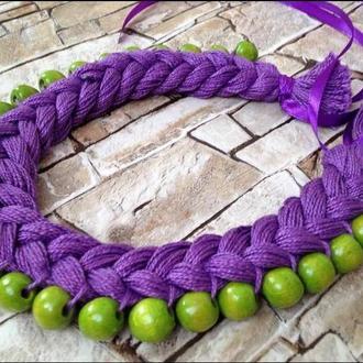 Колье-коса в фиолетово-зеленов
