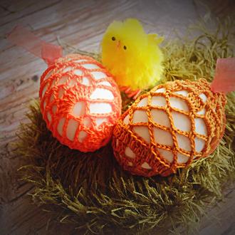 Украшение на пасхальное яйцо вязаное крючком