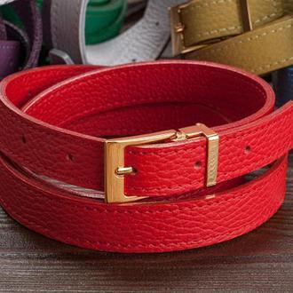 Кожаный женский ремень / красный цвет