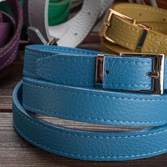 Кожаный женский ремень / голубой цвет