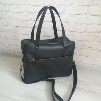 Мужская сумка из натуральной кожи CrazyHorse. Цвет черный. Ручная работа