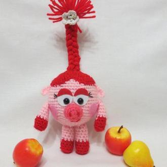 Мягкая игрушка вязаный смешарик Нюша герой мультфильма