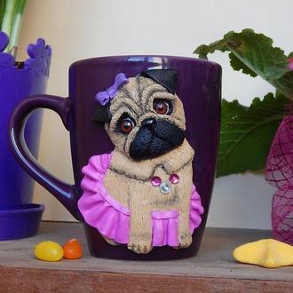 Мопся.Чашка.декорированная полимерной глиной