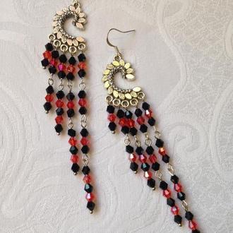 Красивые серьги с чёрным и красным хрусталем