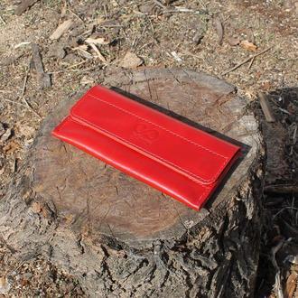 Кошелёк на магнитах из натуральной кожи красный