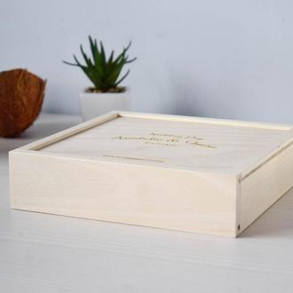 Деревянная коробка для фото 10х15 и флешки