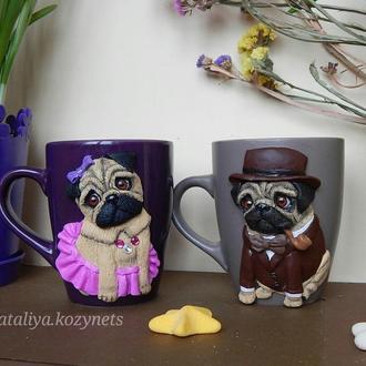 Чашки,кружки с декором полимерной глиной Мопсы.Чашка с собакой.