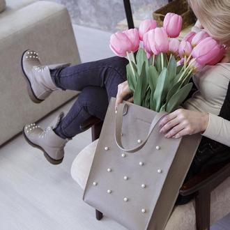 Кожаная сумка с жемчугом