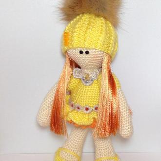 Кукла связана крючком,куколка,вязаная игрушка,тильда