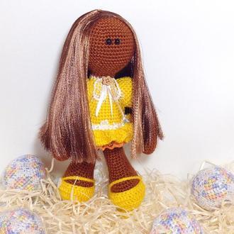 Кукла вязаная крючком,кукла мулатка,вязаная игрушка