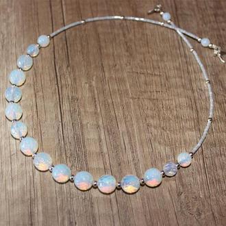 Свадебное праздничное ожерелье, лунный камень, опалит, подарок девушке