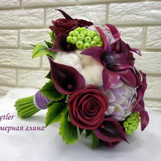 Букет невесты ручной работы из полимерной глины
