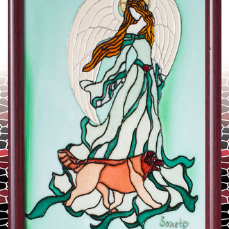 Витражная роспись по стеклу Ангел с собакой