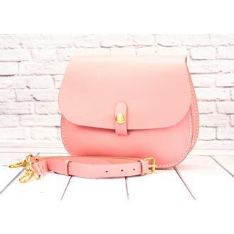 Женская кожаная сумка daisy розовый зефир