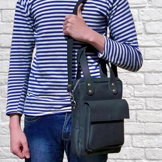 Кожаная сумка через плече, с ручной, формата А4