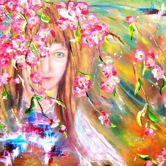 Картина маслом.Весна . Цветенье сакуры. 50х60 см. Авторская работа мастихином. Пастозная живопись. К