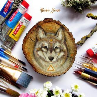 Декор подвеска Волк авторская иллюстрация тотем (роспись на срезе дуба)