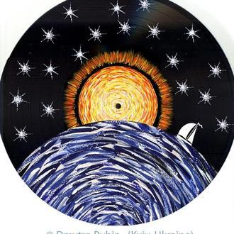 Восход солнца. Картина на виниловом винтажном диске. Авторская работа. Эксклюзив. Подарок.
