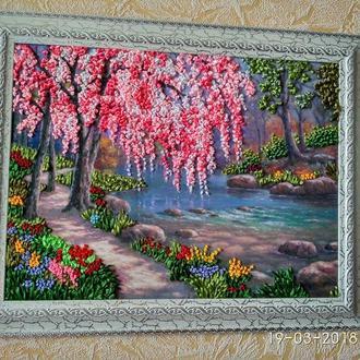 Картина лентами Сакура у реки