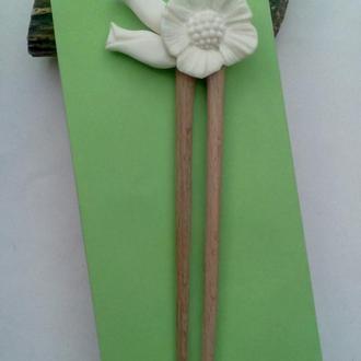"""Заколка-шпилька для волос """"цветы весны"""", из Кости"""