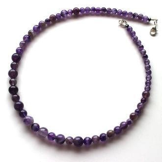 Ожерелье с аметистом, аметистовое ожерелье, бусы аметистовые
