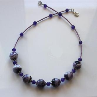 Ожерелье с аметистом, аметист, бусы аметистовые