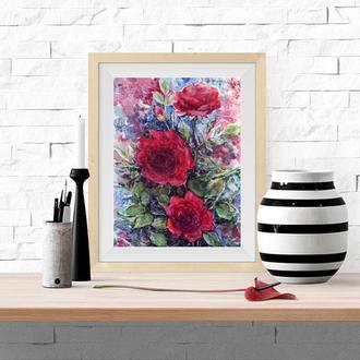 Авторская картина акварелью Темно-красные Розы