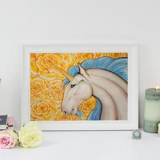 Авторская картина акварелью/акрил Единорог ′Самран′