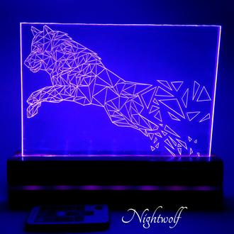 """Экономичный LED акриловый ночник """"NIGHTWOLF"""""""