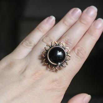 Кольцо медное черное Солнечное затмение Бохо кольцо