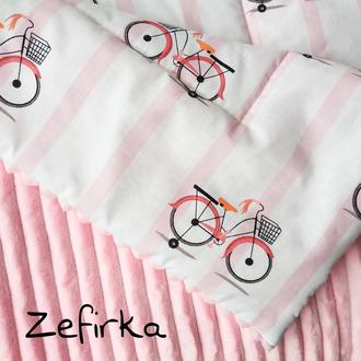 Плюшевый плед Велосипеды розовые