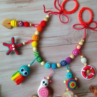Вязаная растяжка в кроватку коляску игрушка, слингобусы ручная работа слингоигрушка малышу подарок