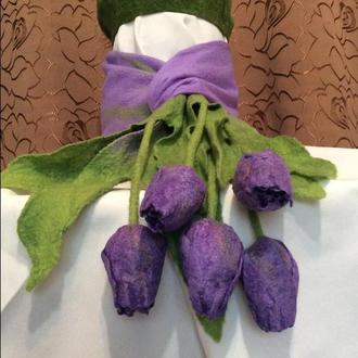 Валяные шарфики Тюльпаны