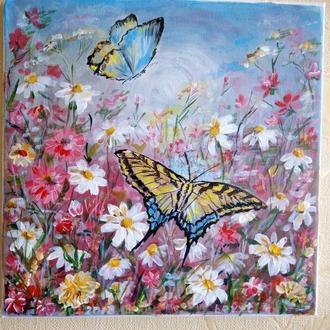 """Картина """"Польові квіти (прилетіли метелики)"""""""