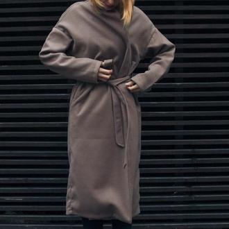 Пальто на запах, оверсайз, бежевое пальто, пальто-халат, стильное пальто