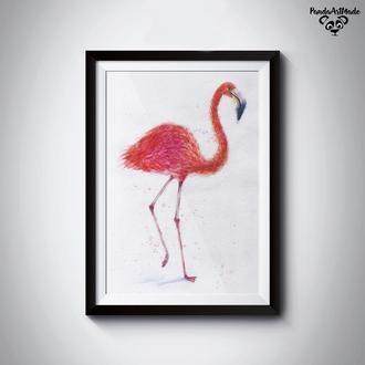 живопись акварелью фламинго